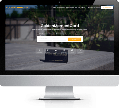 iMac mit GoldenMomentCard Webseite