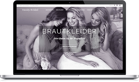 MacBook mit Vanity Bridal Webseite